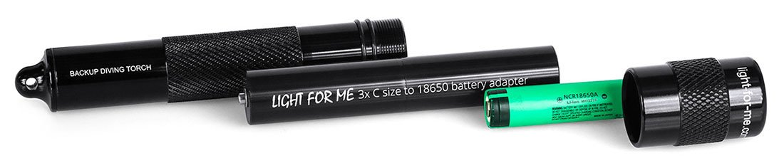 Light For Me standard backup torch with 3xC-size to 1 x 18650 Li-Ion battery adapter